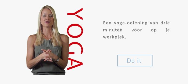 Een yoga-oefening van drie minuten voor op je werkplek.